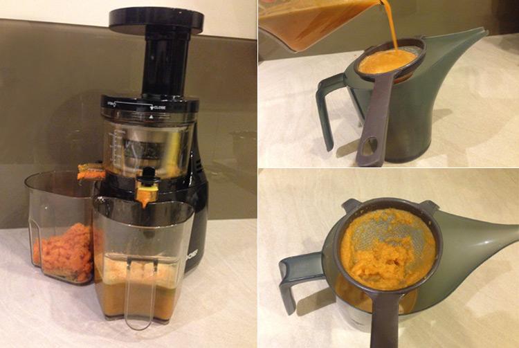 Recette jus détox (extraction, filtrage et dégustation)