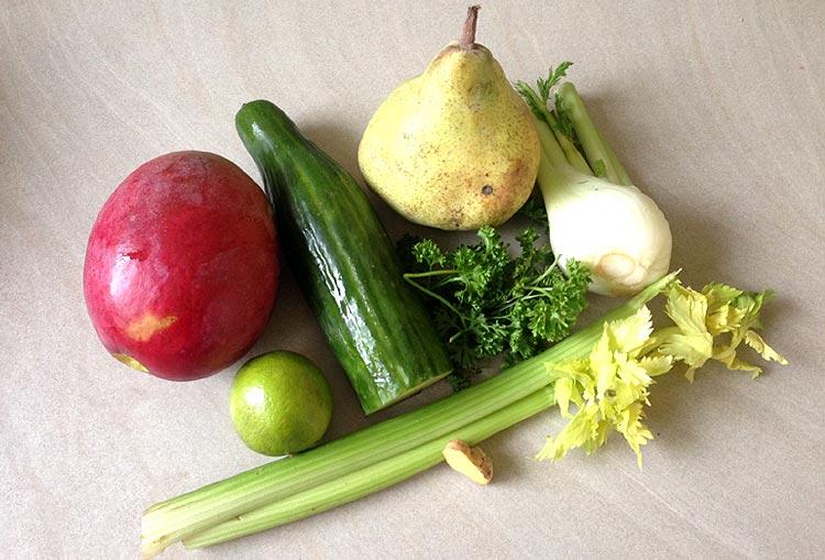 Jus vert à la mangue : les ingrédients