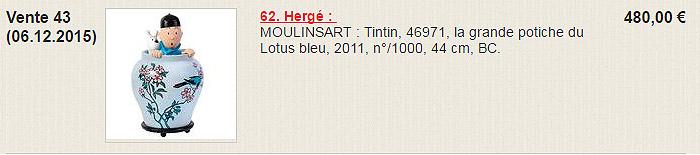 Potiche Tintin vente 2015